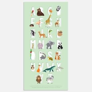 alfabet poster dieren abc voor babykamer of kinderkamer in mintgroen 40x80cm
