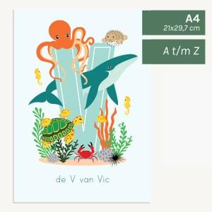 gepersonaliseerde poster baby kind zee oceaandieren kinderkamer babykamer oceaandieren