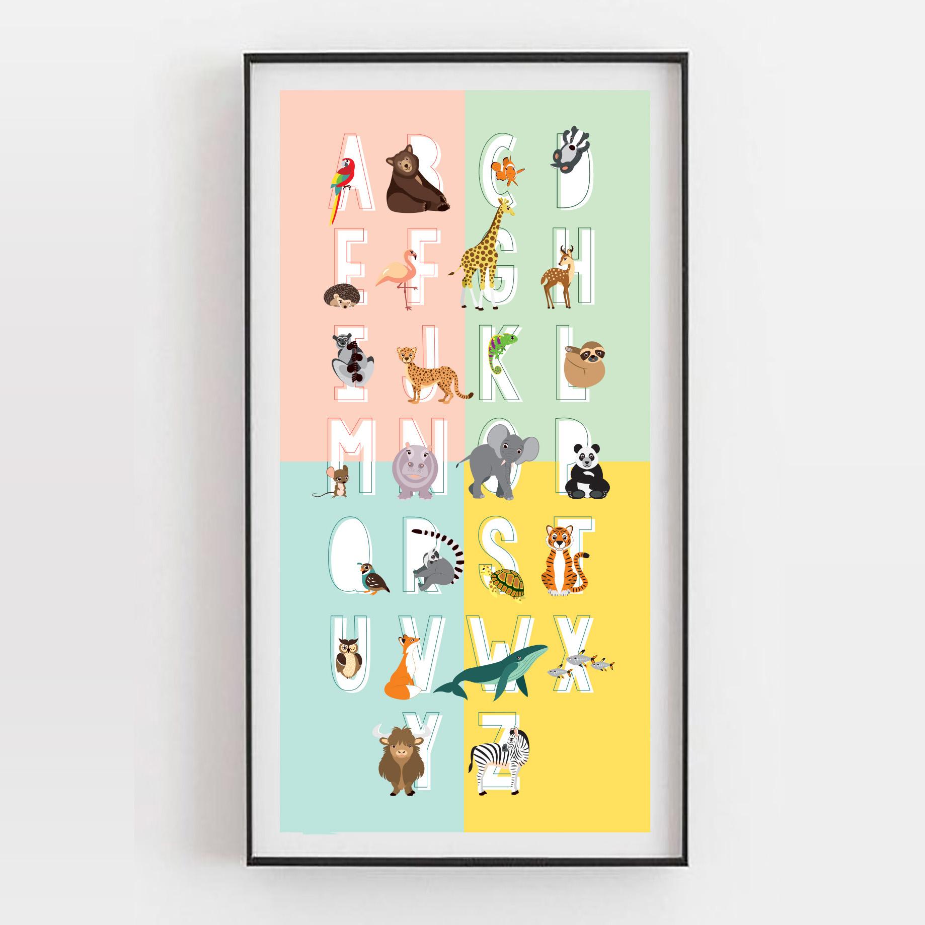 Alfabet abc poster in blauw, okergeel, mintgroen en roze. Mooi en eductief voor op je kinderkamer of babykamer
