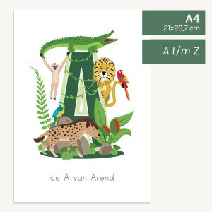 gepersonaliseerde poster baby kind jungledieren kinderkamer babykamer jungle dieren