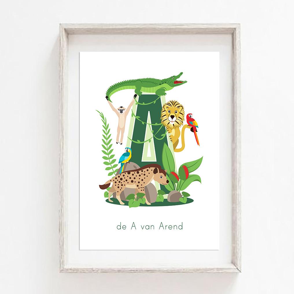 gepersonaliseerde poster dieren met letter jungle