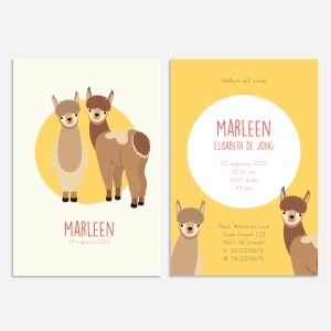 Geboortekaartje alpaca lama duo meisje ontwerp door lindy