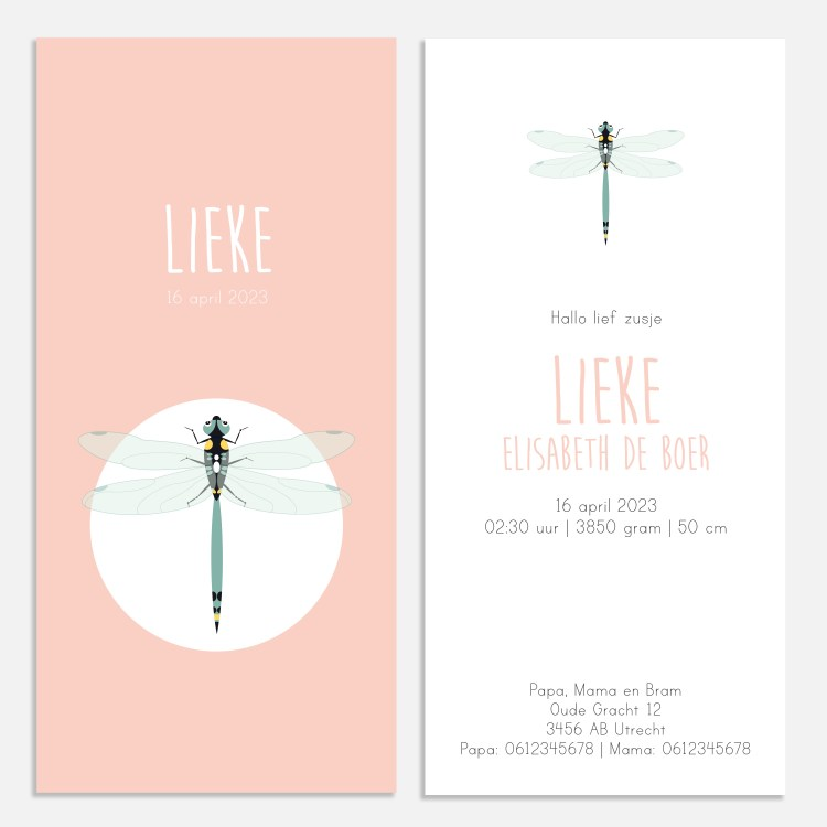 Geboortekaartje libelle roze 10x21 Ontwerp door Lindy