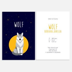 geboortekaartje wolf dieren bosdieren nachtblauw blauw jongen