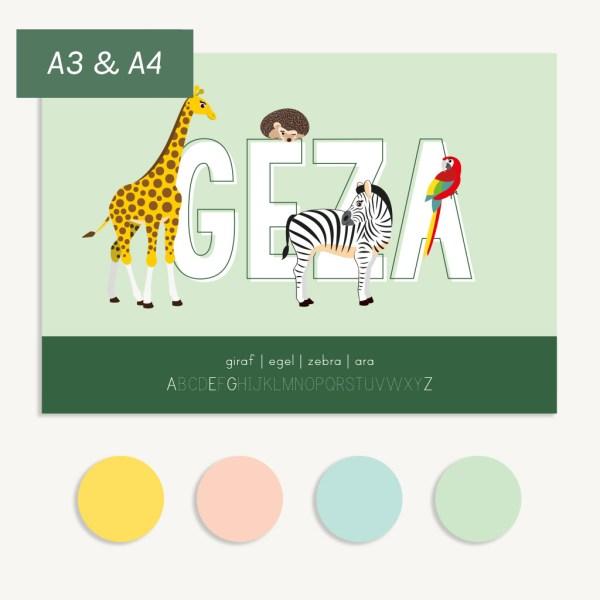 gepersonaliseerde poster dieren met naam ontwerp door lindy