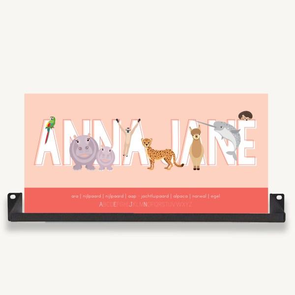 gepersonaliseerde poster naam roze ontwerp door lindy