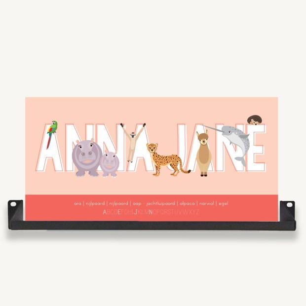 gepersonaliseerde naamposter roze