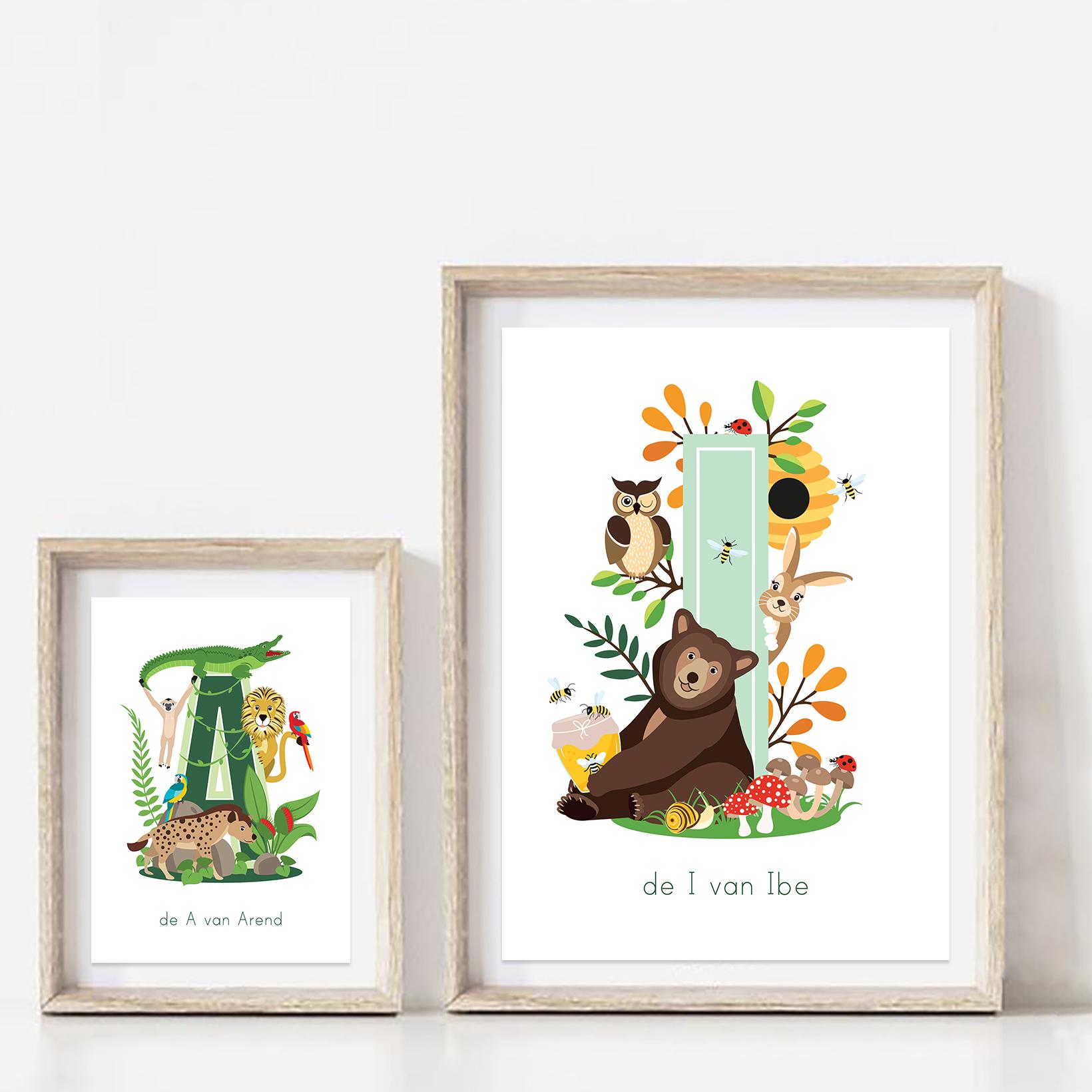 gepersonaliseerde poster dieren letterposter ontwerp door lindy