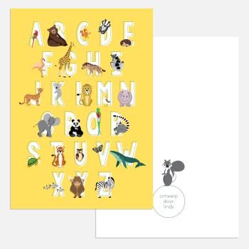 abc alfabet ansichtkaart kaartje in geel A5 formaat