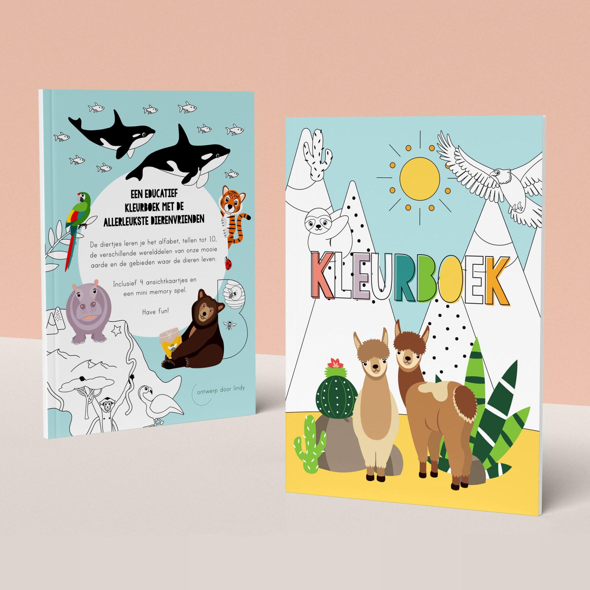 Educatief kleurboek alfabet, dieren, tellen, werelddelen
