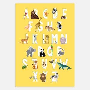 Alfabet poster geel A3 ontwerp door lindy