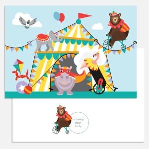 kaart circus dieren a5 ontwerp door lindy