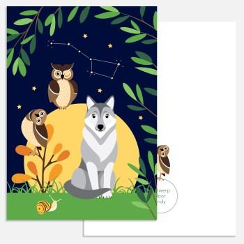kaart nachtdieren wolf uil a5 ontwerp door lindy