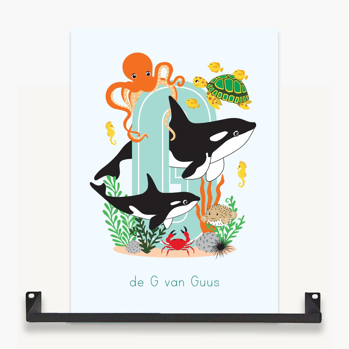 letterposter oceaan zeedieren orka