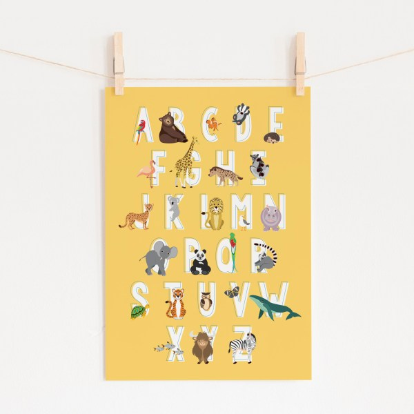 poster abc alfabet dieren geel ontwerp door lindy 2021