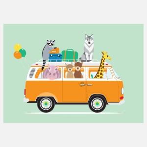 voertuigen volkswagen busje poster mint A4 kinderkamer