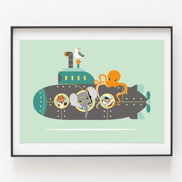 duikboot mint ontwerp door lindy ingelijst