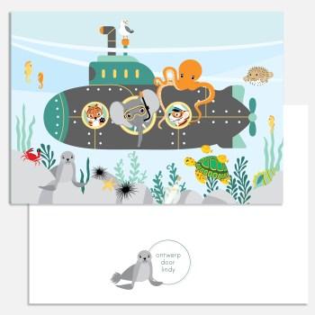 kaart duikboot zee dieren a5 ontwerp door lindy