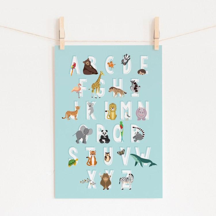 poster abc alfabet dieren blauw ontwerp door lindy 2021