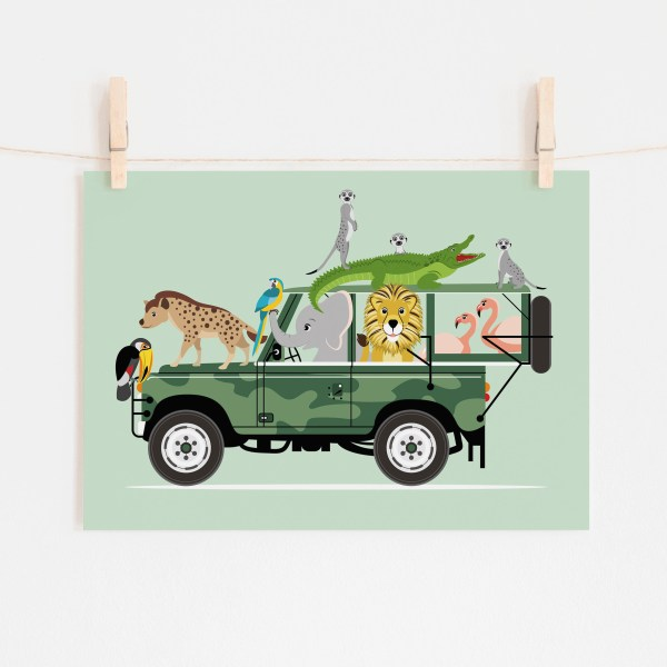 poster jeep safari dieren jungle mint groen ontwerp door lindy 2021