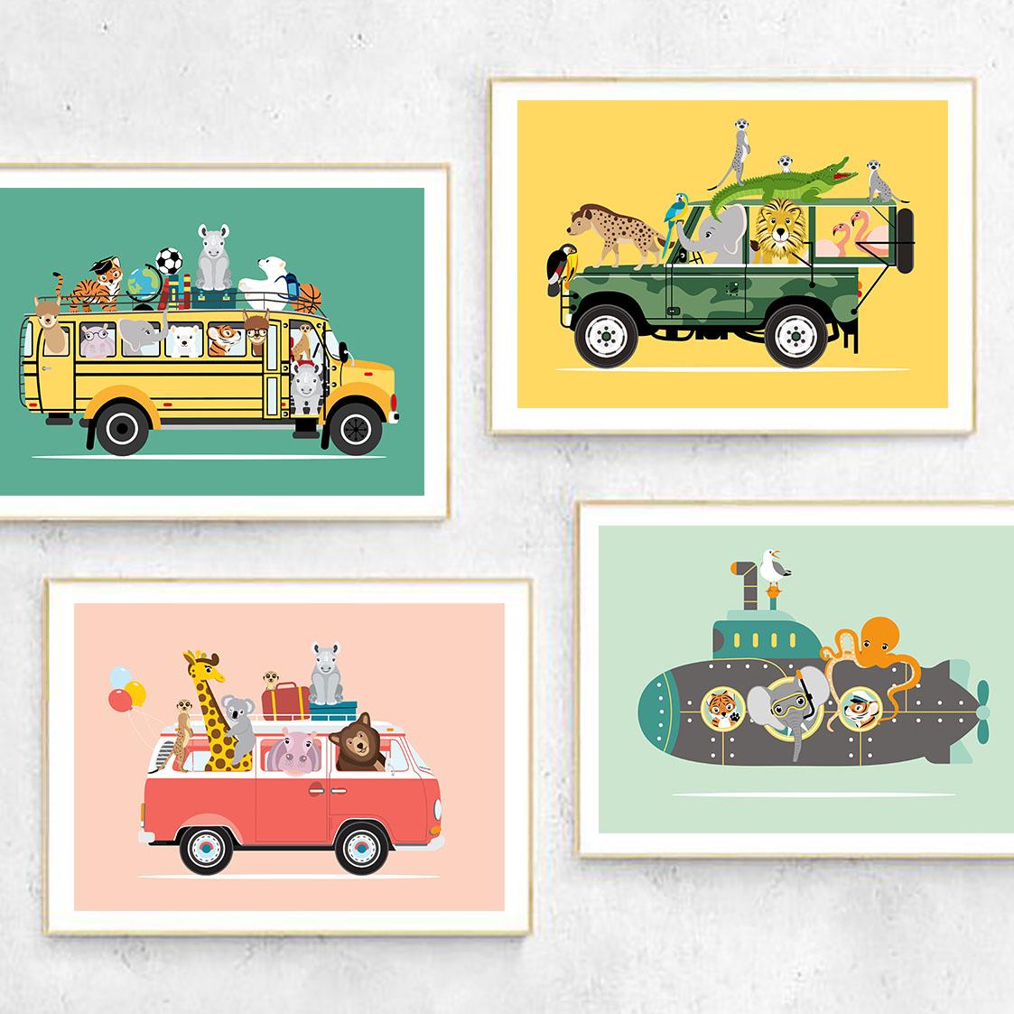voertuigen collectie ontwerp door lindy posters a3 a4 dieren