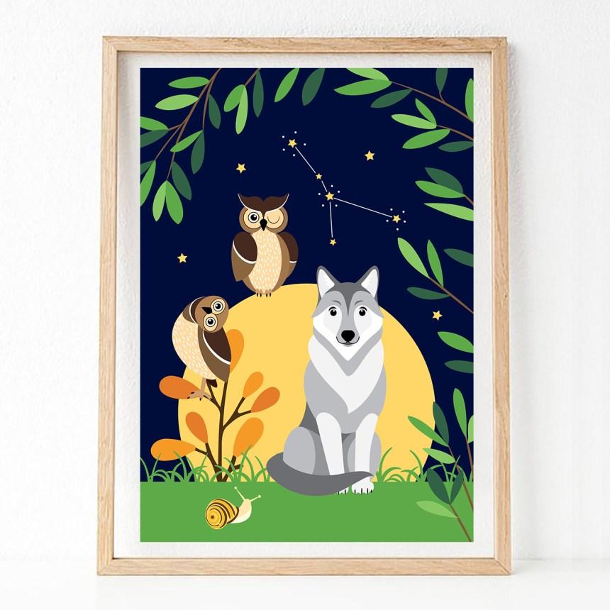 gepersonaliseerde poster sterrenbeeld nachtdieren ontwerp door lindy