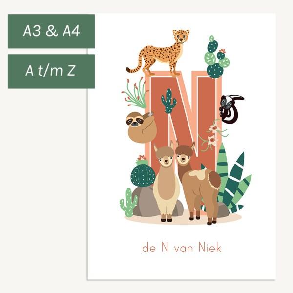 gepersonaliseerde-poster-woestijndieren-kind-ontwerp-door-lindy