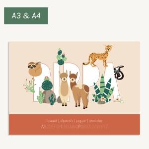 persoonlijke naamposter woestijndieren kinderkamer ontwerp door lindy