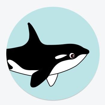 Sluitsticker orka ontwerp door lindy blauw