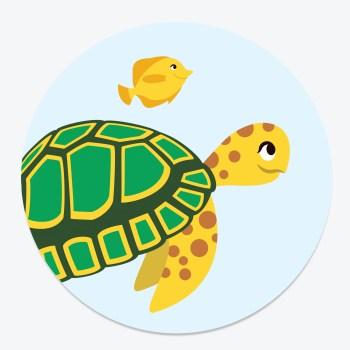 Sluitsticker schildpad ontwerp door lindy blauw