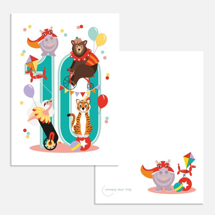 cijferkaart 10 circus dieren ontwerp door lindy
