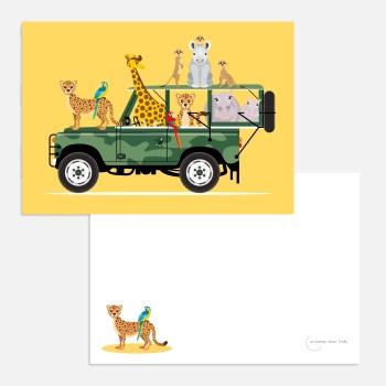 Safari jeep A6 geel ansichtkaart ontwerp door lindy