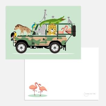 Safari jeep A6 mint ansichtkaart ontwerp door lindy