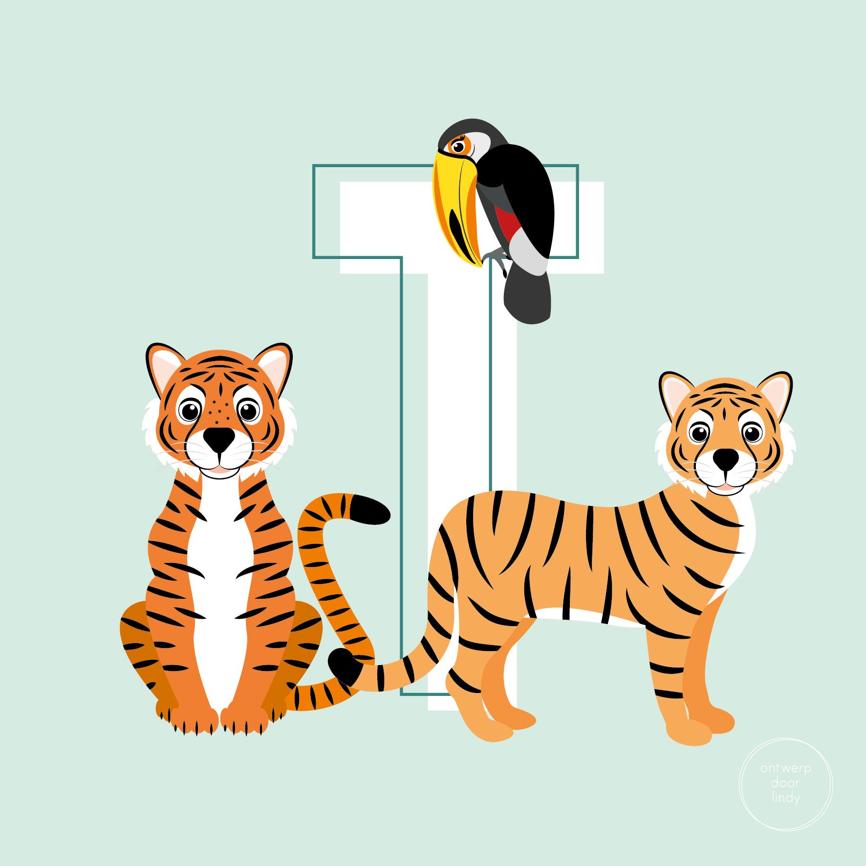 illustratie ABC diertjes tijgers en toekan Ontwerp door Lindy
