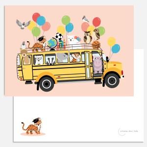 kaart schoolbus dieren roze dag juf a5 ontwerp door lindy