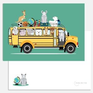 kaart schoolbus dieren turquoise dag meester a5 ontwerp door lindy