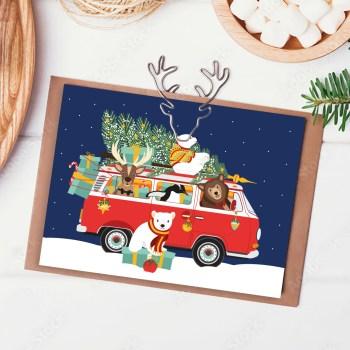 Kerstkaart Volkswagenbusje kerstboom ontwerp door lindy 2021 sfeer