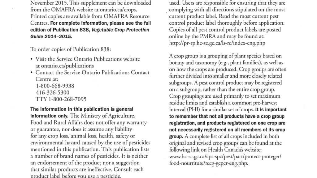 2016 Supplement - OMAFRA Vegetable Crop Protection Guide (Pub. 838)