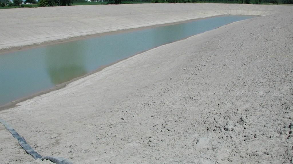 Irrigation pond almost dry