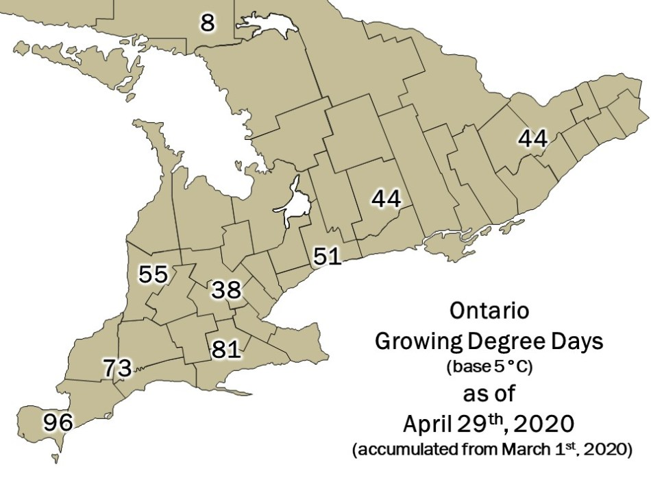 Map of Ontario with Growing Degree Days as of April, 29th, 2020