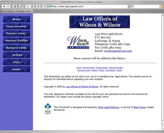 Old FindLaw built Wilson & Wilson FindLaw FirmSite