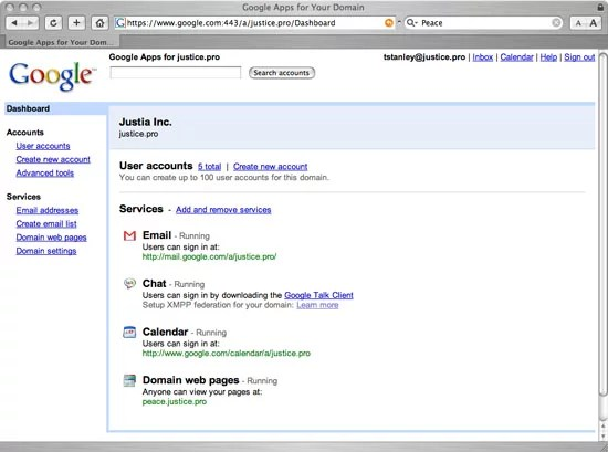 Google hosted services for business