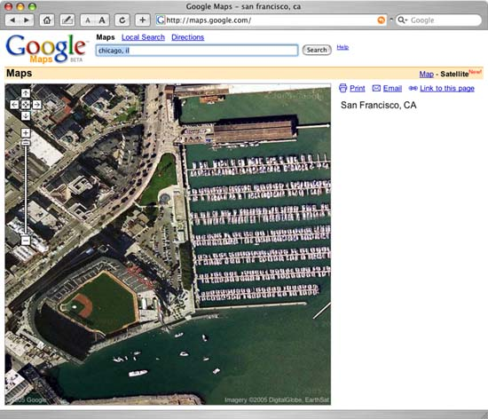 Google Map View of SBC Park