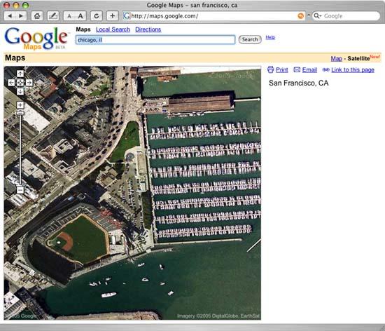 Google Map View of SBC Park