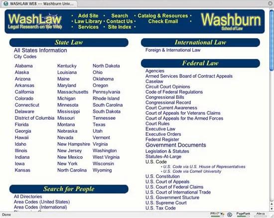 Washburn Law School Web Directory