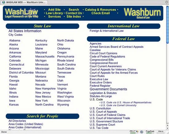 Washburn Law School Web Directory