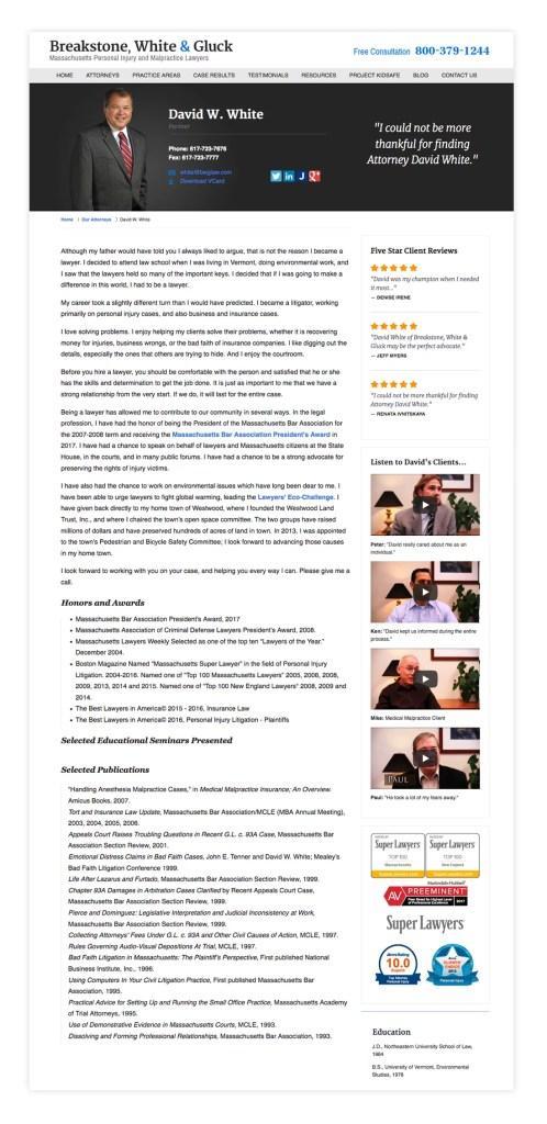 David White Attorney Profile Page