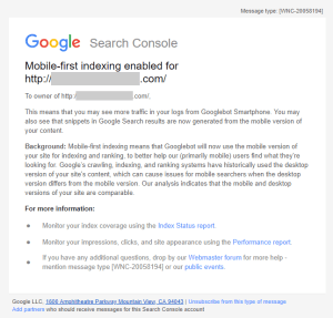 Google Search Console Mobile First Index Notification