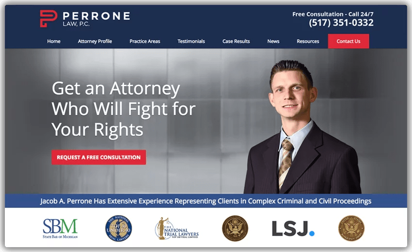 Blue is the safest choice of color for law firm websites