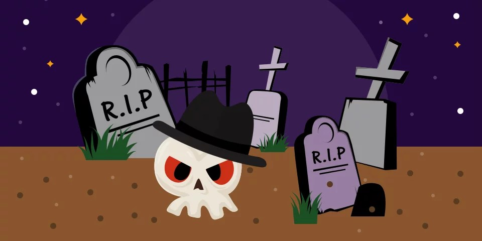 Ghost wearing a black fedora in a graveyard